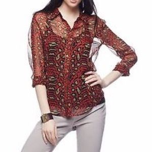 Equipment silk animal print blouse